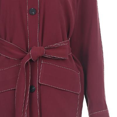 stitch detail raglan sleeve dress wine 3